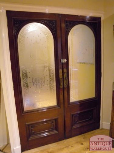 paar antieke mahonie deuren uit oude rechtbank superkwaliteit