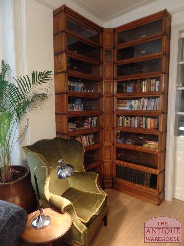 antique oak corner bookcase, Globe Wernicke